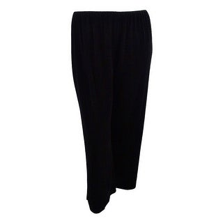 Alex Evenings Women's Plus Size Velvet Flat-Front Pants - Black