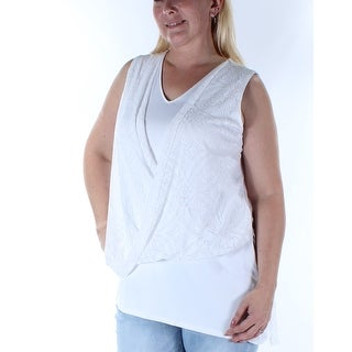 ALFANI $60 Womens New 1180 White Sleeveless V Neck Faux Wrap Casual Top 14 B+B