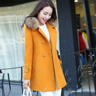 The women's wool coat in the long section of Korean large code slim fur coat female