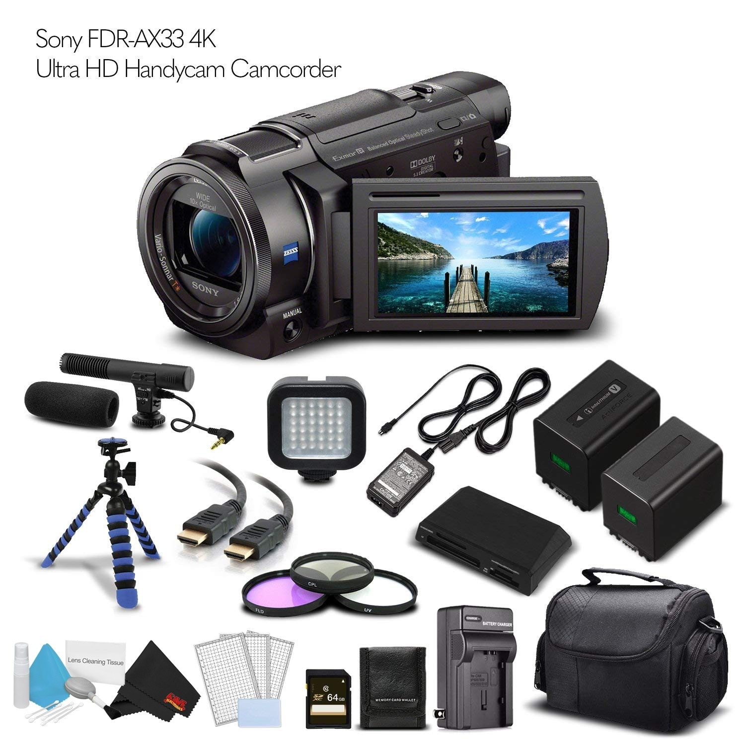 SDXC Sony FDR-AX33 Camcorder Memory Card 2 x 128GB Secure Digital Class 10 Extreme Capacity Memory Card