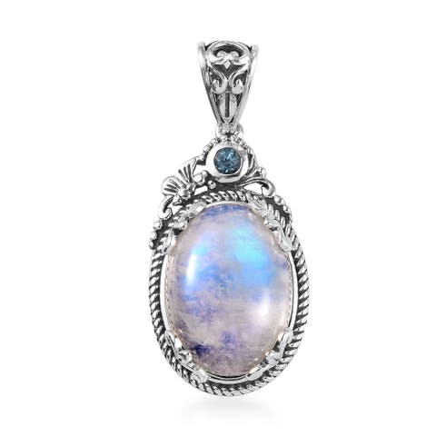925 Sterling Silver Rainbow Moonstone Blue Topaz Pendant Ct 13.2
