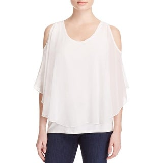 K&C Womens Blouse Overlay Cold Shoulder