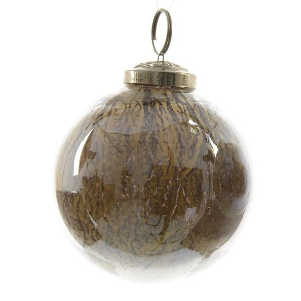 "Luxury Lodge Earth Tone Shiny Smooth Glass Christmas Ball Ornament 4"" (100mm)"