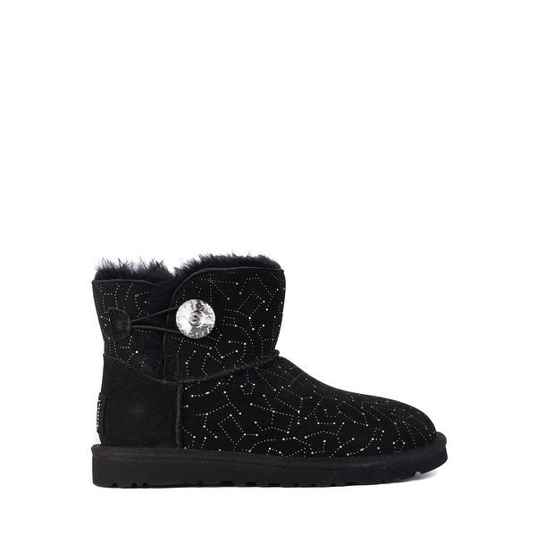 3b88f6cc99e Shop UGG Womens Black Suede Mini Bailey Button Bling Constellation ...