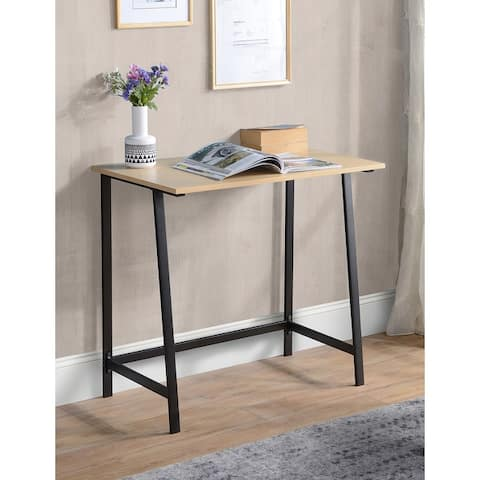 Oak Finish and Metal Writing Desk