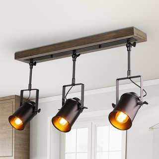 "Link to Industrial 3-lights Track Pendant Adjustable Head Spot lighting for Kitchen Island - L 26.5"" x W 4.75""x H 13.5"" Similar Items in Track Lighting"