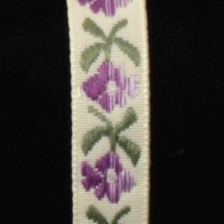 "Purple and Green Bavaria Jacquard Craft Ribbon .5"" x 50 Yards"