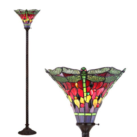 """Dragonfly Tiffany-Style 71"""" Torchiere Floor Lamp, Bronze/Green by JONATHAN Y - 71"""" H x 15"""" W x 15"""" D"""