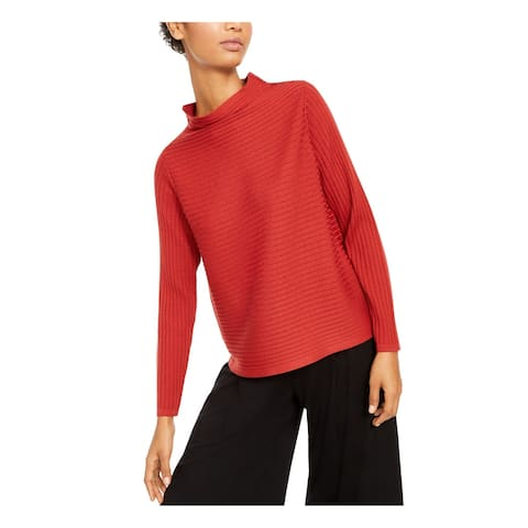 EILEEN FISHER Womens Red Ribbed Long Sleeve Mock Sweater Size XS