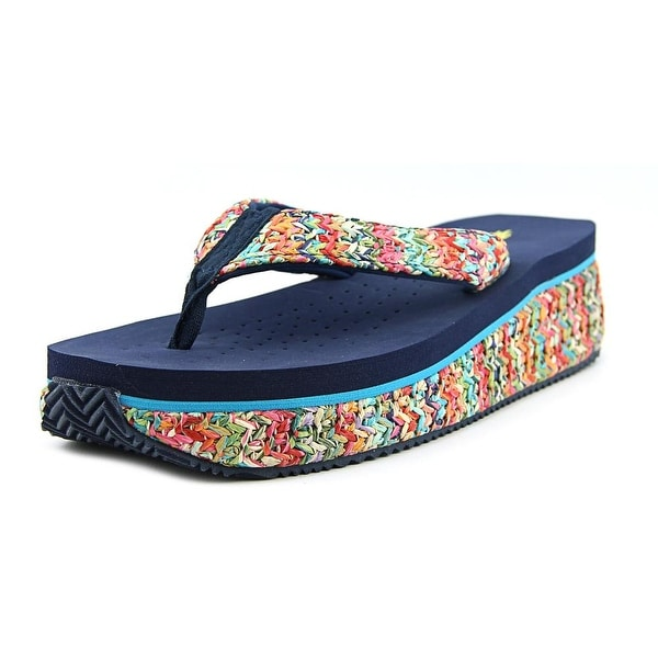 Volatile Rainboom Women Open Toe Canvas Blue Thong Sandal
