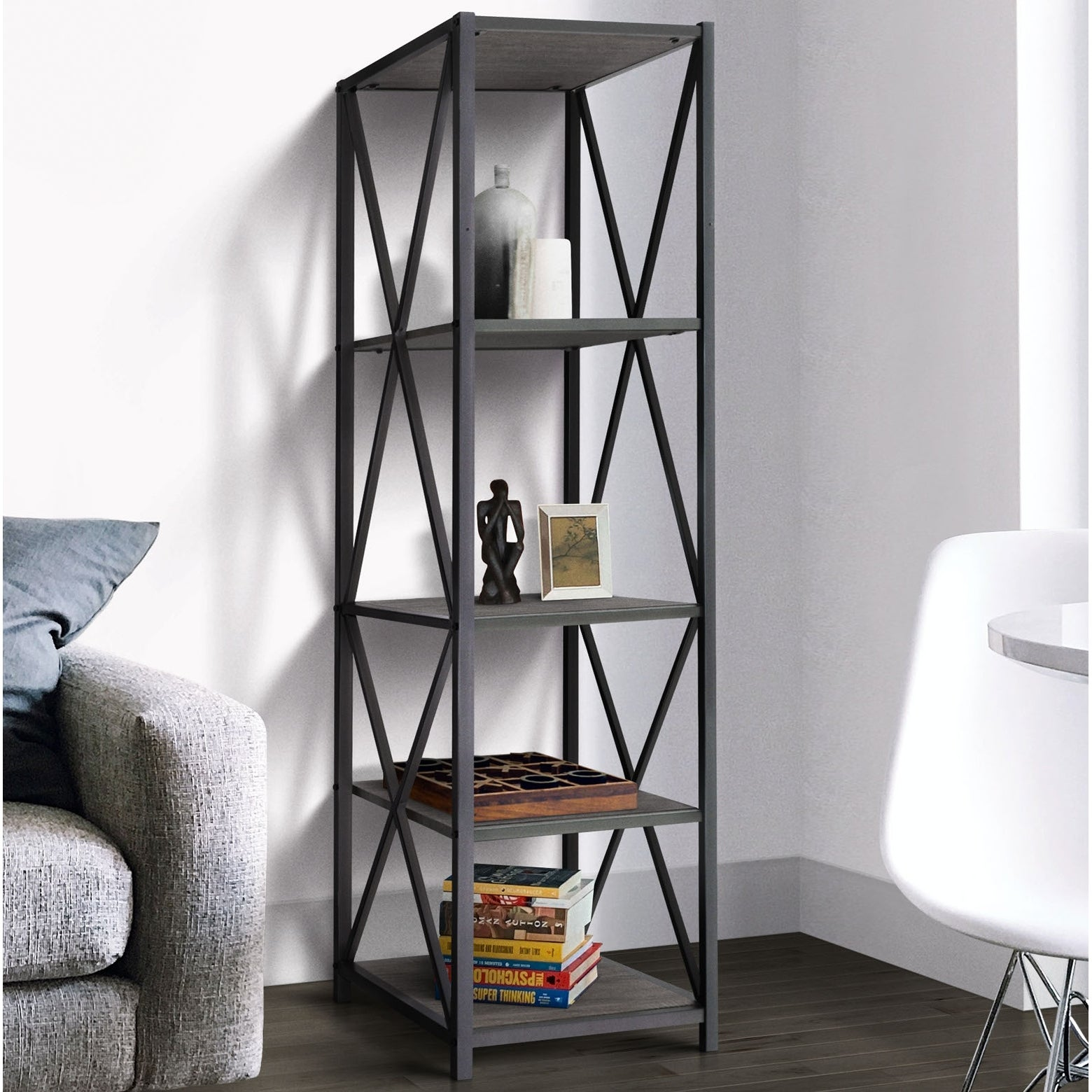 Zenvida Bookshelf 5 Tier Industrial Metal Wood Modern Etagere Tall Bookcase Open Display Shelves Organizer Overstock 32265270