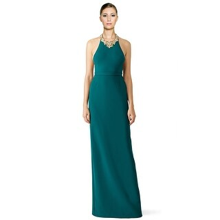 Marchesa Notte Beaded Crepe Halter Evening Gown Dress Forest