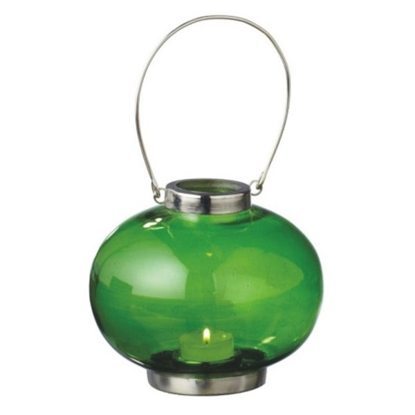 """5.5"""" Fancy Fair Round Silver and Green Retro Glass Tea Light Candle Holder Lantern. Opens flyout."""