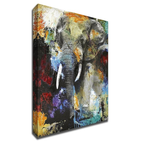 Elephant by Design Fabrikken With Hand Painted Brushstrokes, Print on Canvas
