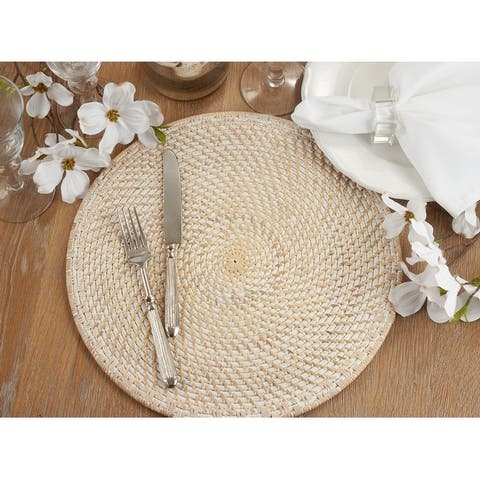 Rattan Placemats With Woven Design (Set of 4)