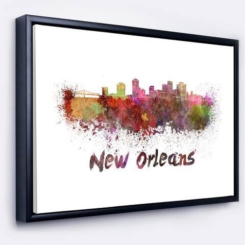 Designart 'New Orleans Skyline' Cityscape Framed Canvas Artwork Print