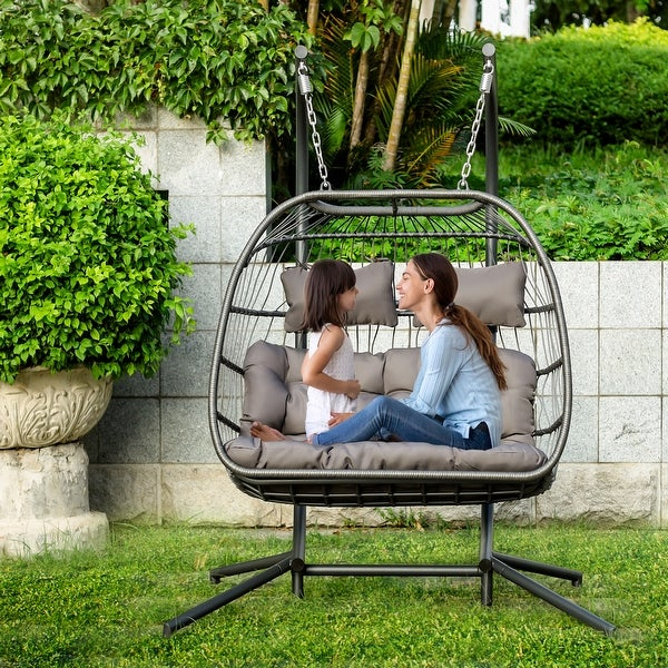 "Outdoor Wicker Hanging Egg Chair with stand, Swing Lounge Chair w/Cushion for 2 Person X-Large - 63""(W) x 78""(L) x 43.3""(D). Opens flyout."