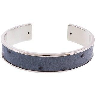 Stamerra MEMAN STRUZZO ADN Denim/Silver Genuine Ostrich Bracelet