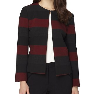 Tahari By ASL NEW Red Black Women's Size 8 Striped Colorblock Jacket