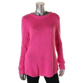 Lauren Ralph Lauren Womens Ribbed Trim KNit Pullover Sweater - L