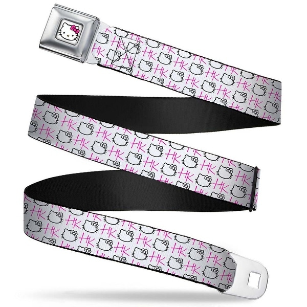 Hello Kitty Face W Pink Bow Full Color White Hk Blank Face Monogram White Seatbelt Belt