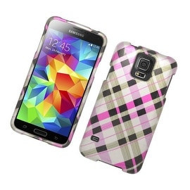Insten Brown/ Pink Checker Hard Snap-on Rubberized Matte Case Cover For Samsung Galaxy S5