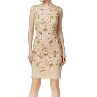 Calvin Klein NEW Beige Womens Size 12P Petite Lace Floral Sheath Dress
