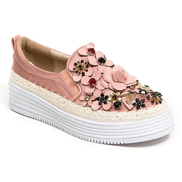 French Blu Womens Rihanna Flowered Jeweled Sneaker