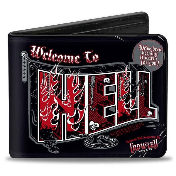 Supernatural Welcome To Hell Flames Skulls Chains Black Gray Red White Bi Bi-Fold Wallet - One Size Fits most