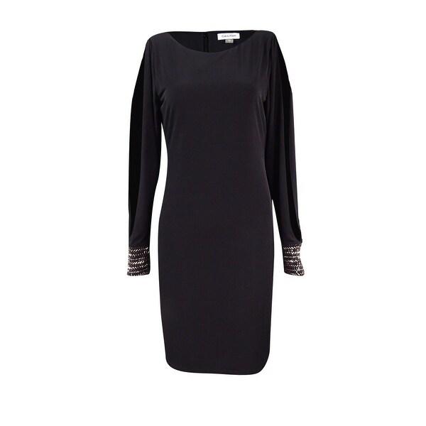 Shop Calvin Klein Womens Cold Shoulder Embellished Cuff Dress