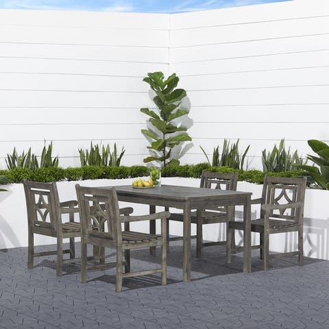 Hydaburg Outdoor 5-piece Wood Rectangular Table Dining Set by Havenside Home