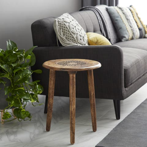 Mango Wood Traditional Accent Table - 17 x 17 x 22Round