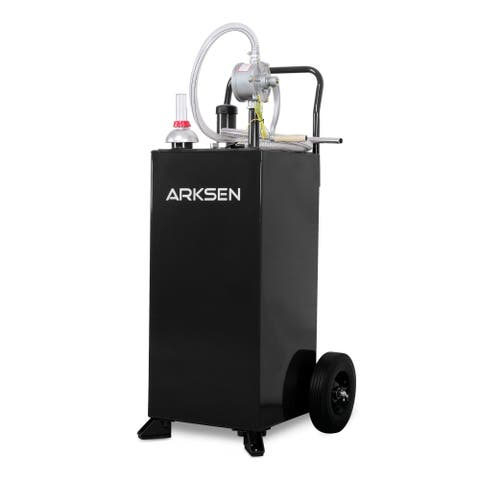 Arksen 30 Gallon Portable Fuel Transfer Gas Can Caddy Storage Gasoline Tank Heavy Duty 30-Gallons Capacity- Black