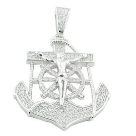 Anchor Charm Sterling Silver With Cz Mens 40mm Tall Anchor With Mariner Crucifix