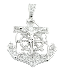 Anchor Charm Sterling Silver With Cz Mens 40mm Tall Anchor With Mariner Crucifix By MidwestJewellery