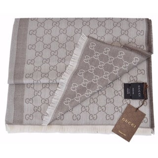 """Gucci 282390 Taupe and Ivory Wool Silk GG Guccissima Scarf Muffler - 78"""" x 28"""""""