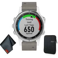Garmin FENIX 5S Plus Sapphire Edition Multi-Sport Training GPS Watch (White w/ Gray Suede Band) Basic Accessory Bundle