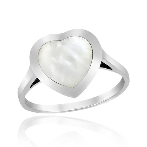Handmade Heart of Compassion White Mother of Pearl Inlay Sterling Silver Ring (Thailand)