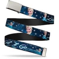 Blank Chrome  Buckle Elsa The Snow Queen Poses Snowflakes Let It Go Web Belt