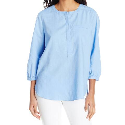 NYDJ Blue Womens Size XS Pleated Back 3/4 Sleeve Jewel Neck Blouse