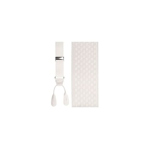 Checkers Leather End Suspenders in White