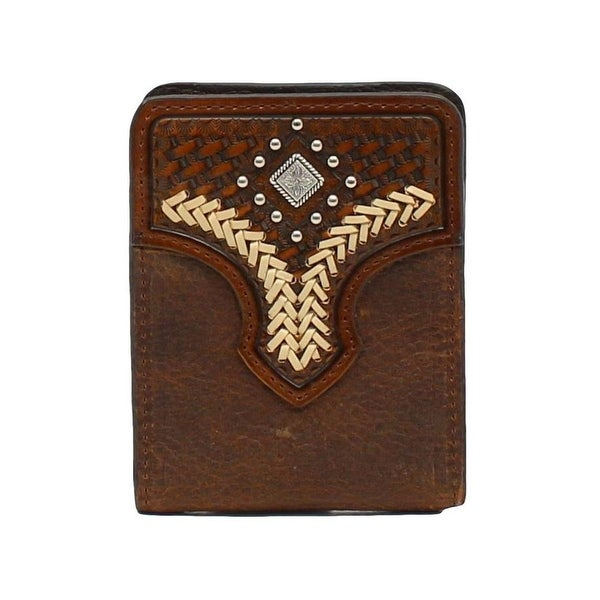 Nocona Western Wallet Mens Money Clip Lace Studs Medium Brown - One size