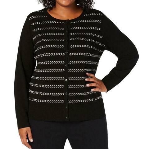 Charter Club Women's Sweater Black Size 1X Plus Cardigan Metallic