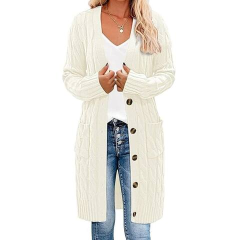 Open Front Cardigan Button Down Sweater With Pockets