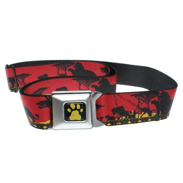 Walt Disney Seatbelt Belt - Lion King - Simba, Timon, & Pumba African Plains-Holds Pants Up
