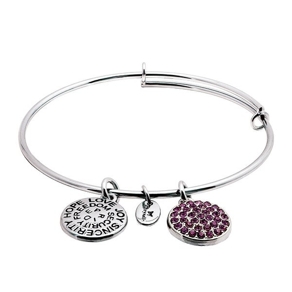 Chrysalis Expandable February Bangle Bracelet with Purple Swarovski elements Crystals in Rhodium-Plated Brass