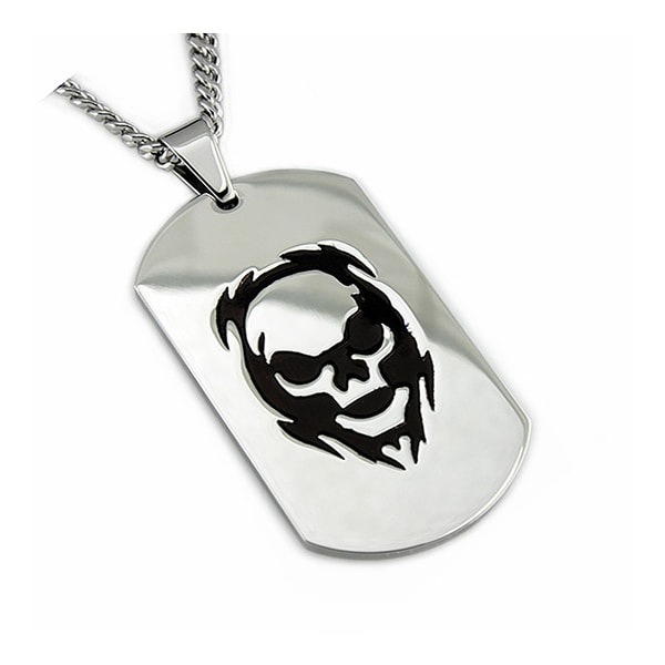 Stainless Steel Dog Tag Pendant w/ Skull Engrave - 24 inches