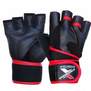 Weight Lifting Fitness Leather Gym Gloves Gel Padded Cowhide Long Strap Red G6R - Black/red