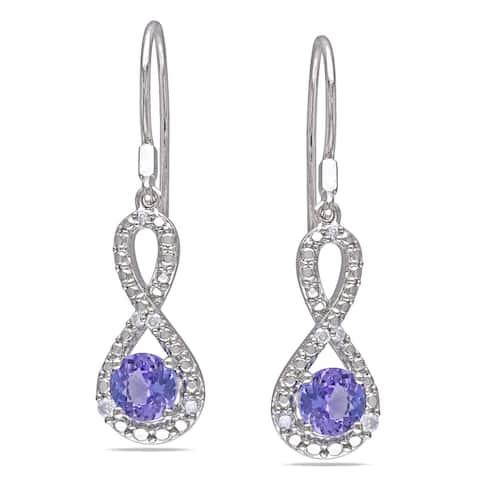 Miadora Sterling Silver Tanzanite 1/10ct TDW Diamond Infinity Earrings