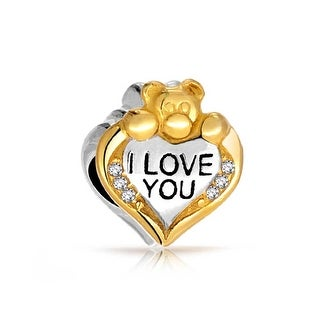 Bling Jewelry Gold Plated CZ I Love You Teddy Bear Heart Animal Message Bead Charm .925 Sterling Sil